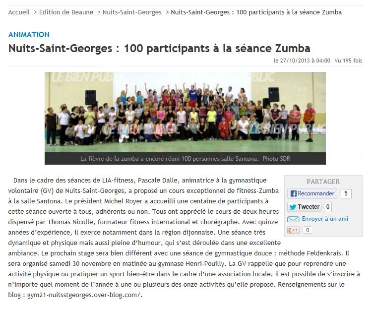 Aticle bp stage zumba du 19 10 13