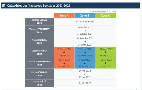 Vacances scolaires 2020 2021